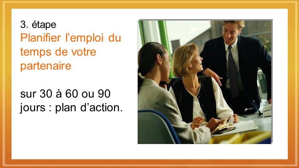 3. étape Planifier l'emploi du temps de votre partenaire sur 30 à 60 ou 90 jours : plan d'action.