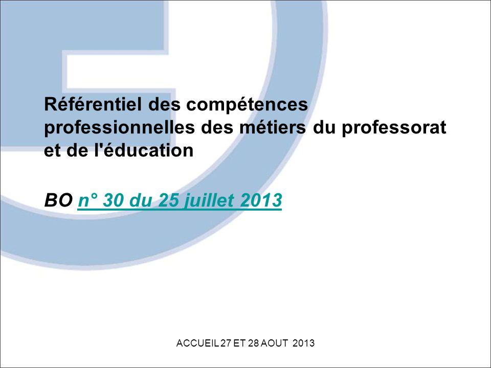 Référentiel des compétences professionnelles des métiers du professorat et de l éducation