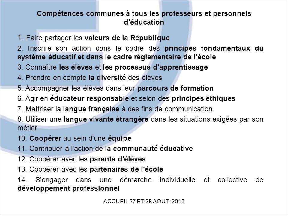 Compétences communes à tous les professeurs et personnels d éducation