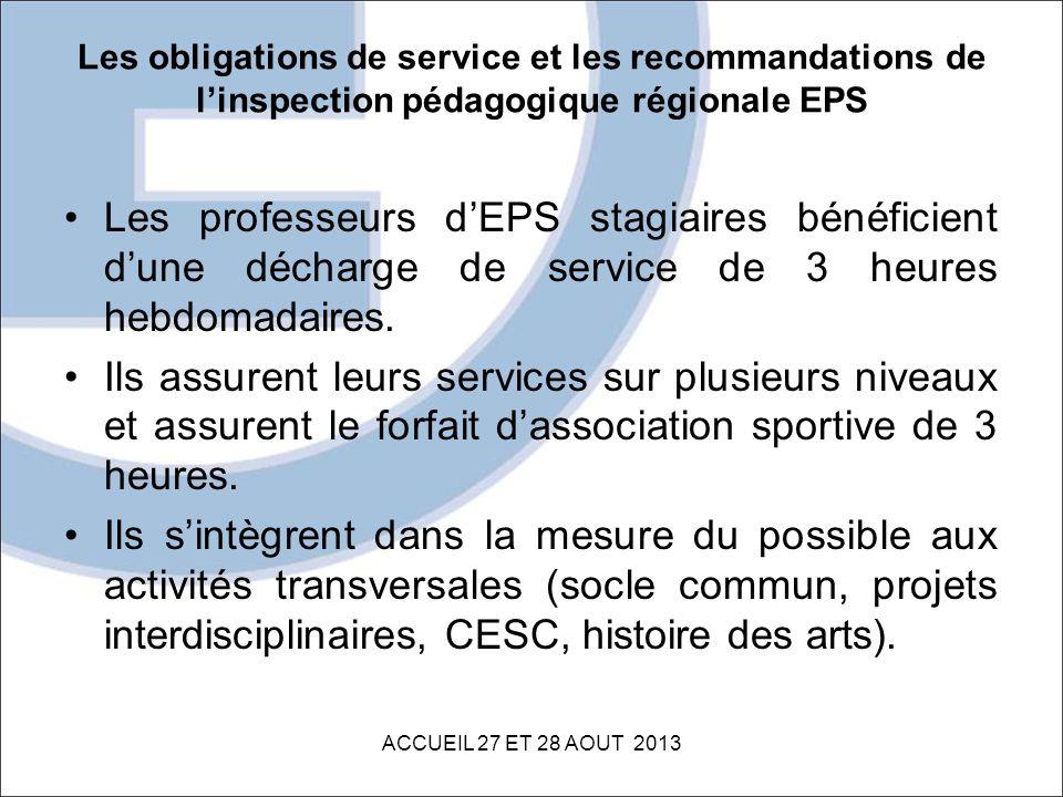 Les obligations de service et les recommandations de l'inspection pédagogique régionale EPS
