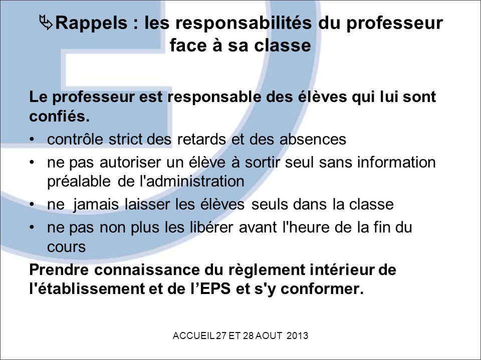 Rappels : les responsabilités du professeur face à sa classe