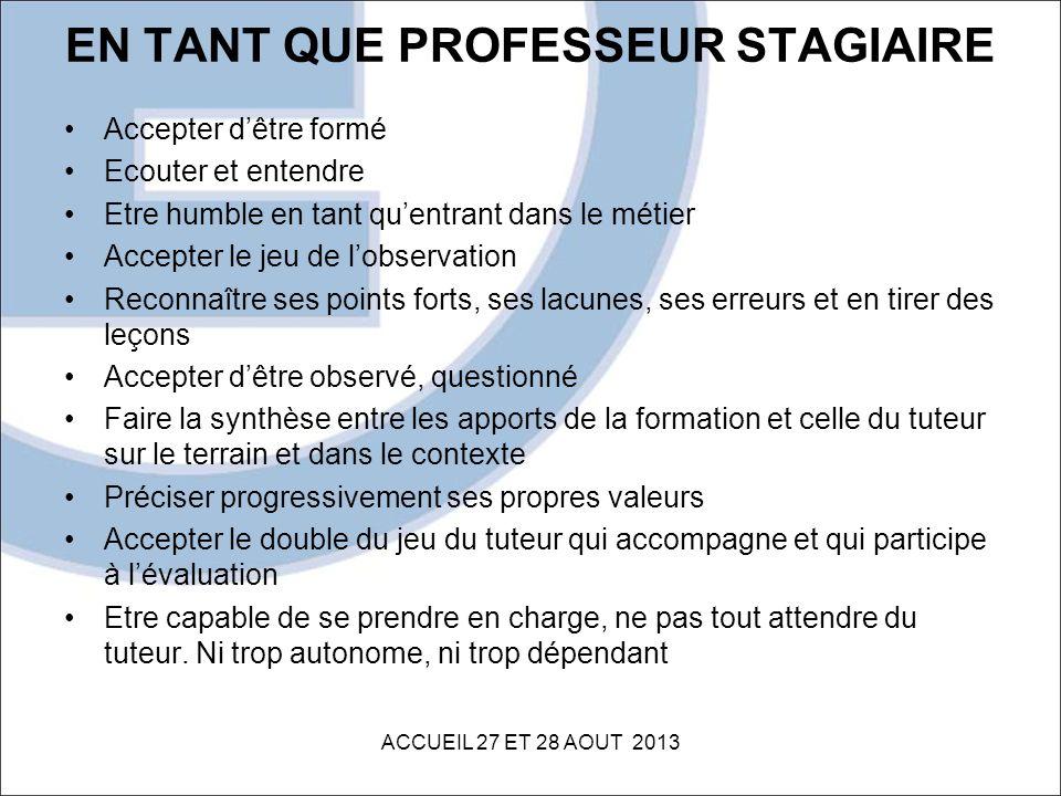 EN TANT QUE PROFESSEUR STAGIAIRE