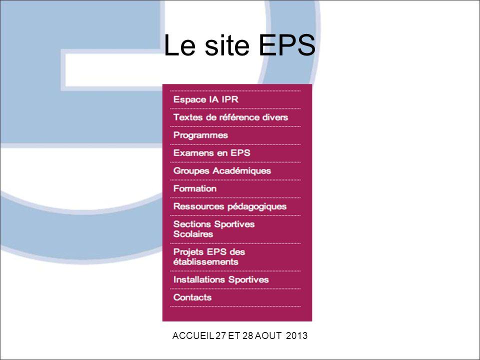 Le site EPS ACCUEIL 27 ET 28 AOUT 2013
