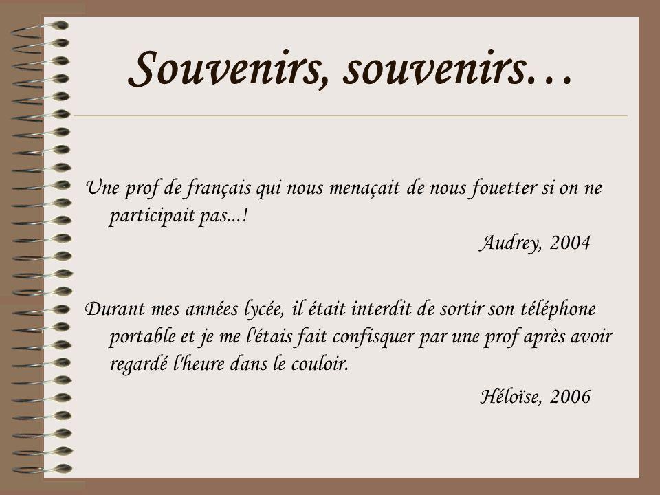 Souvenirs, souvenirs… Une prof de français qui nous menaçait de nous fouetter si on ne participait pas...!