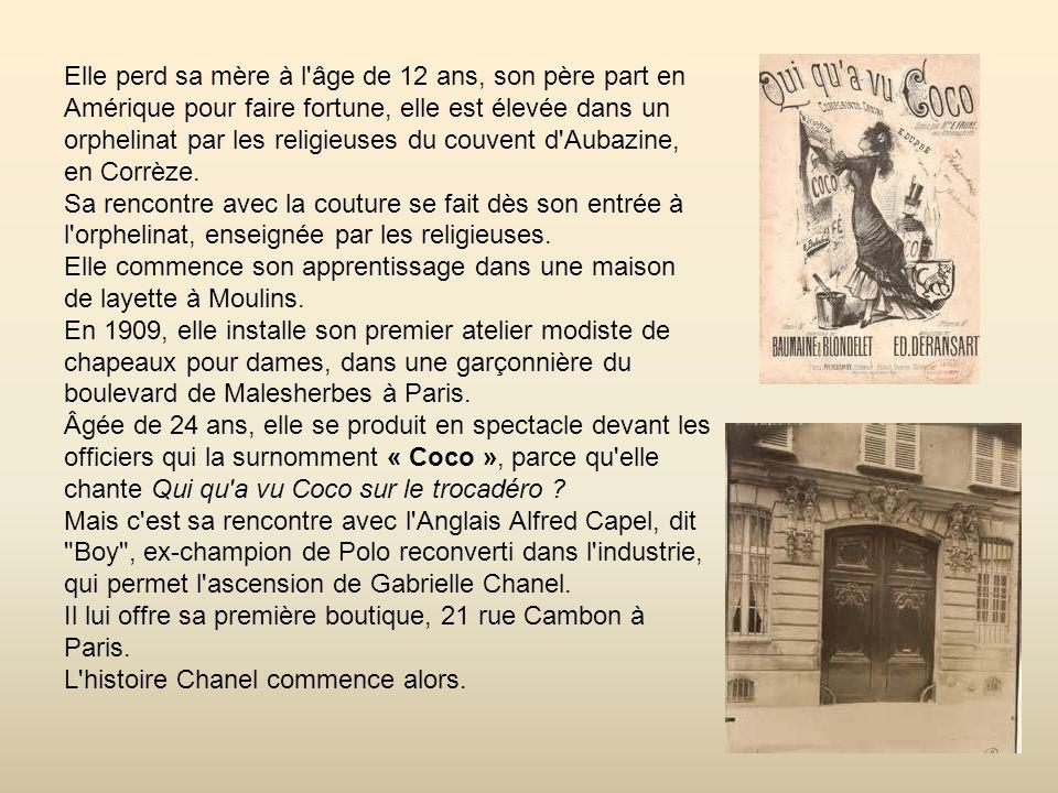 Elle perd sa mère à l âge de 12 ans, son père part en Amérique pour faire fortune, elle est élevée dans un orphelinat par les religieuses du couvent d Aubazine, en Corrèze.