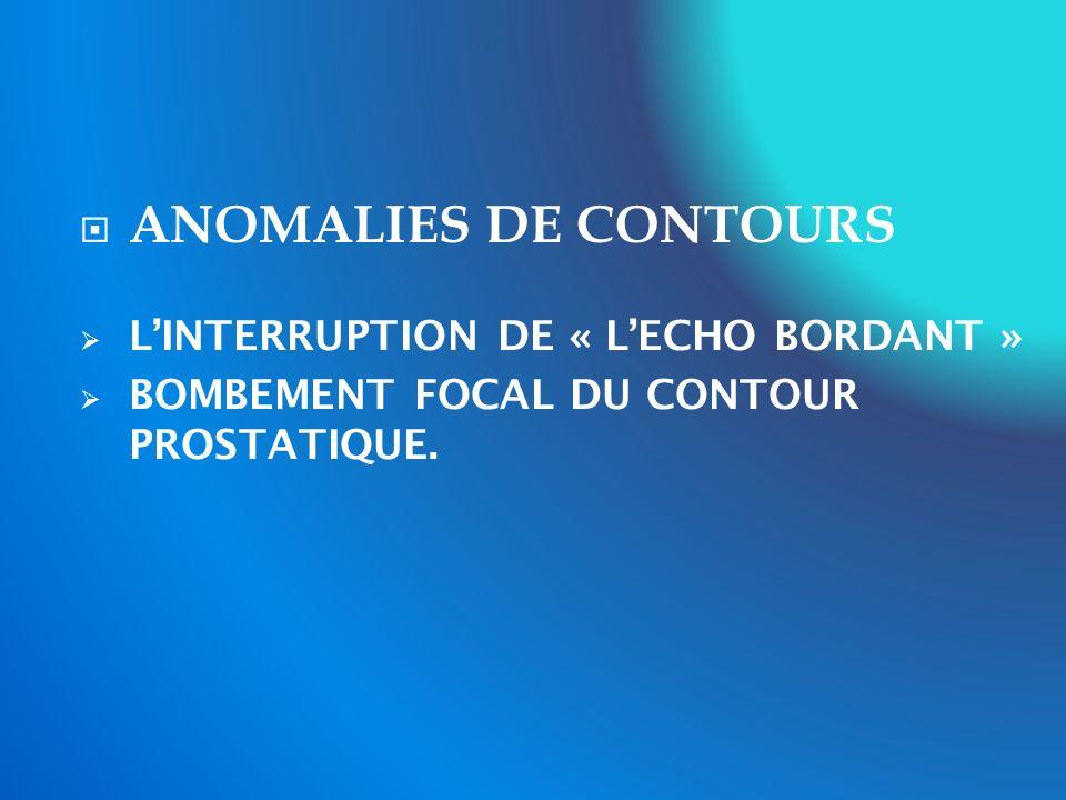ANOMALIES DE CONTOURS L'INTERRUPTION DE « L'ECHO BORDANT »