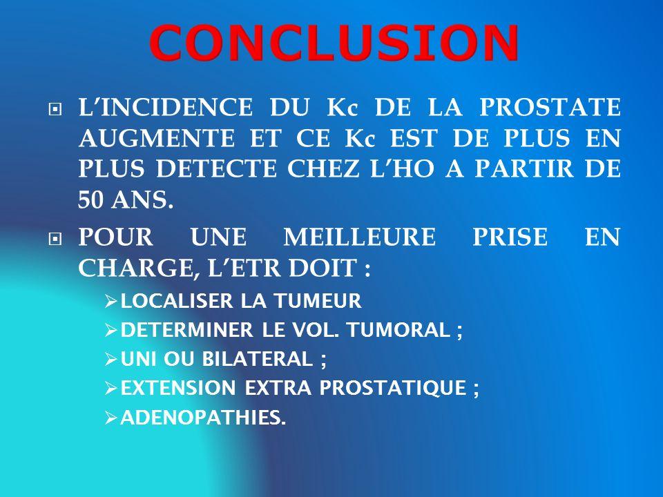 CONCLUSIONL'INCIDENCE DU Kc DE LA PROSTATE AUGMENTE ET CE Kc EST DE PLUS EN PLUS DETECTE CHEZ L'HO A PARTIR DE 50 ANS.