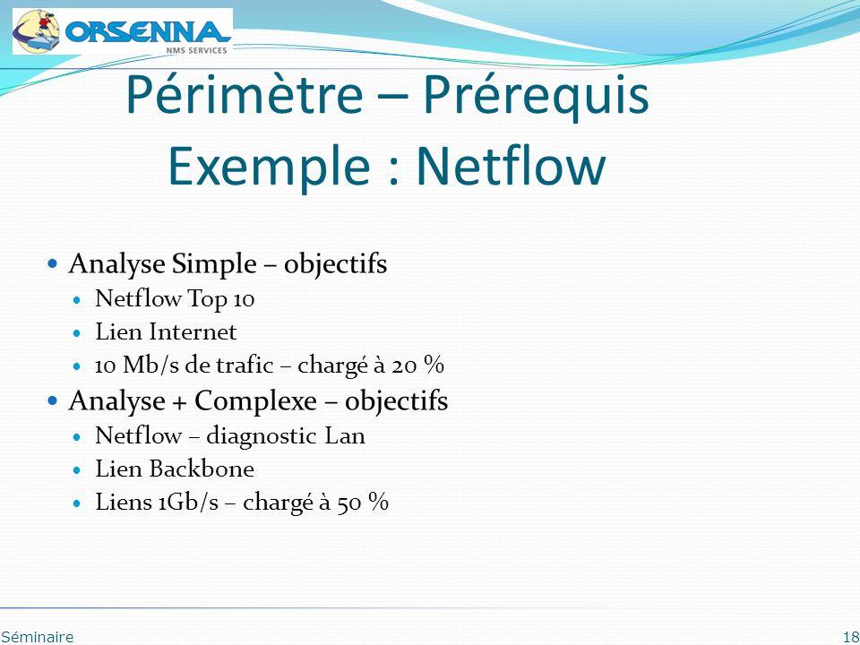 Périmètre – Prérequis Exemple : Netflow