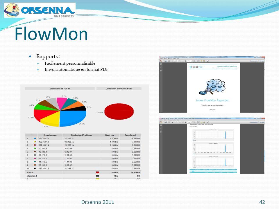 FlowMon Rapports : Orsenna 2011 Facilement personnalisable