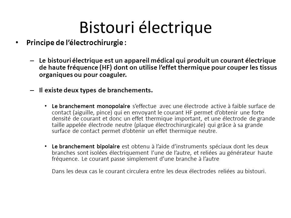Bistouri électrique Principe de l'électrochirurgie :