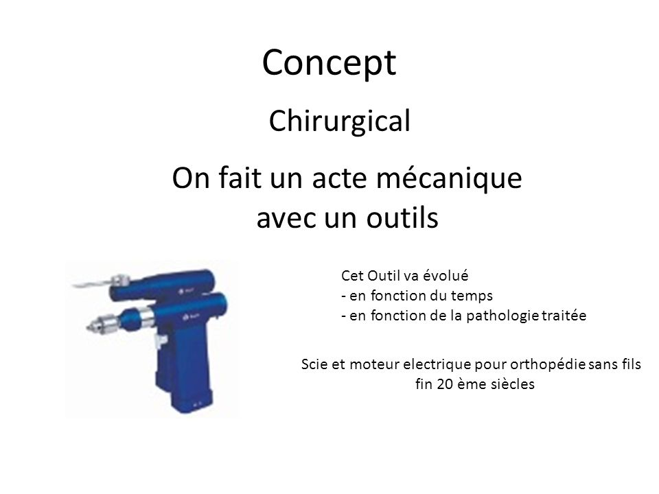 Concept Chirurgical On fait un acte mécanique avec un outils
