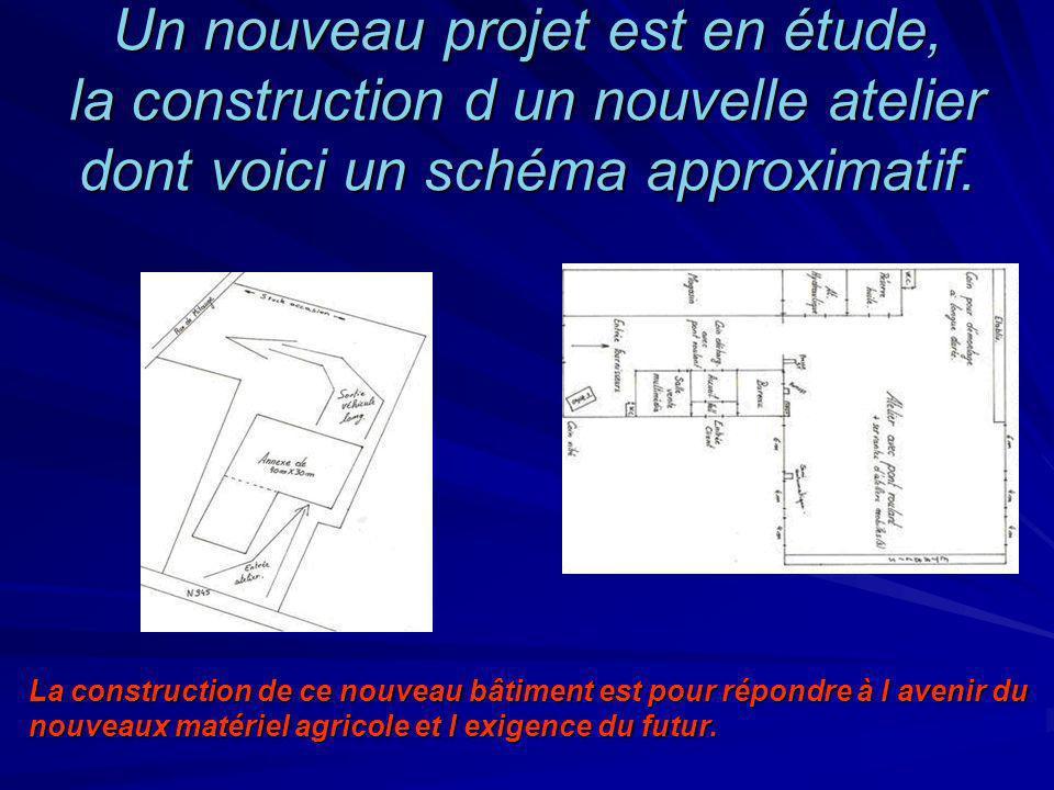 Un nouveau projet est en étude, la construction d un nouvelle atelier dont voici un schéma approximatif.