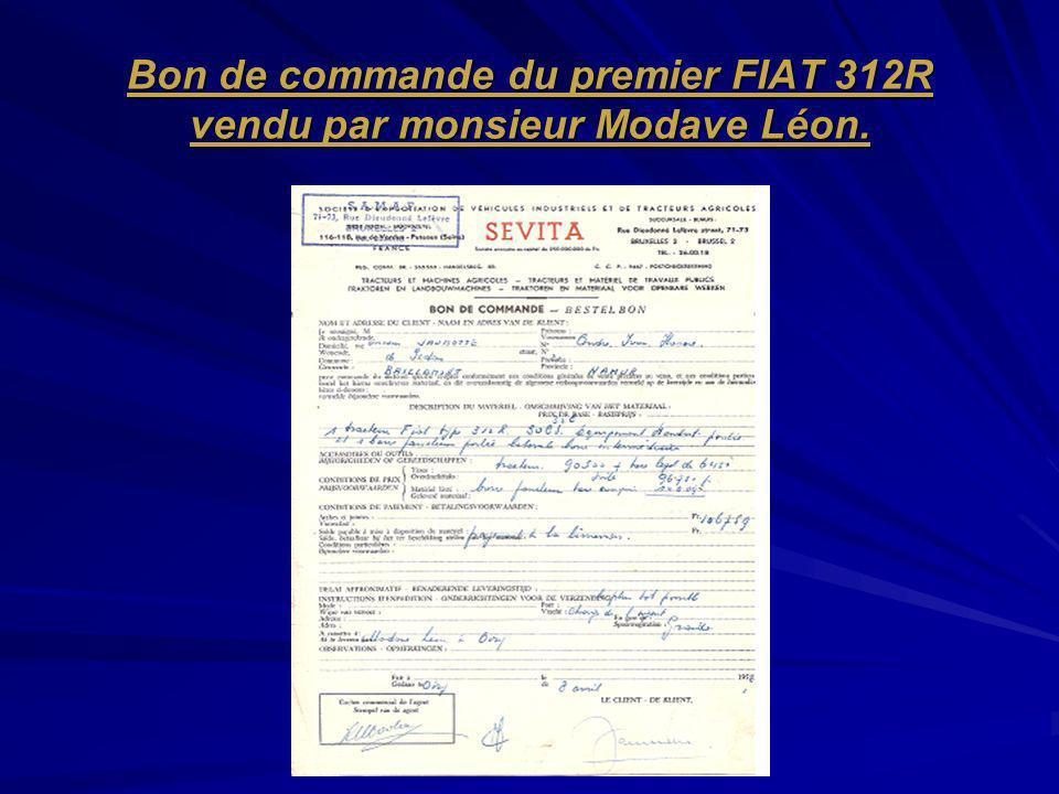 Bon de commande du premier FIAT 312R vendu par monsieur Modave Léon.