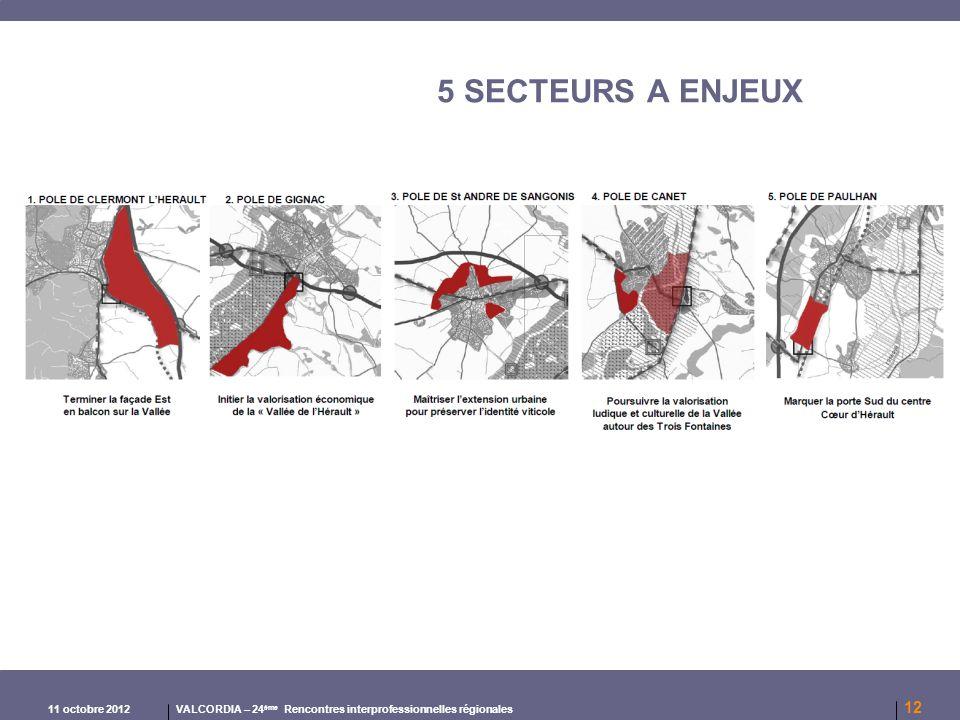 5 SECTEURS A ENJEUX 11 octobre 2012