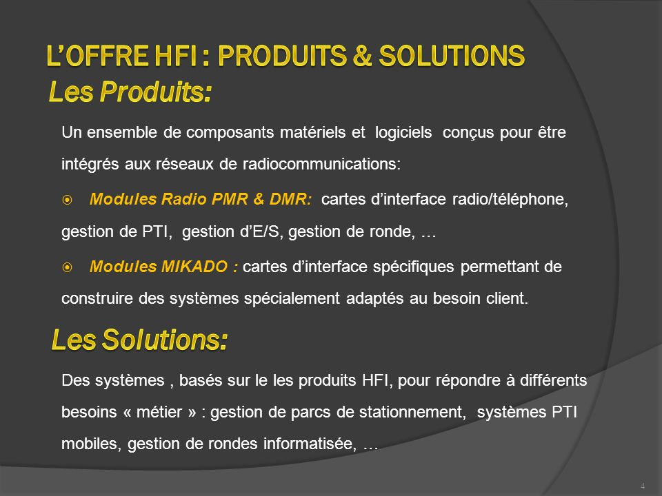 L'OFFRE HFI : PRODUITS & SOLUTIONS