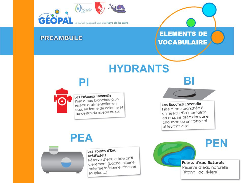 ELEMENTS DE VOCABULAIRE PREAMBULE HYDRANTS BI PI PEA PEN