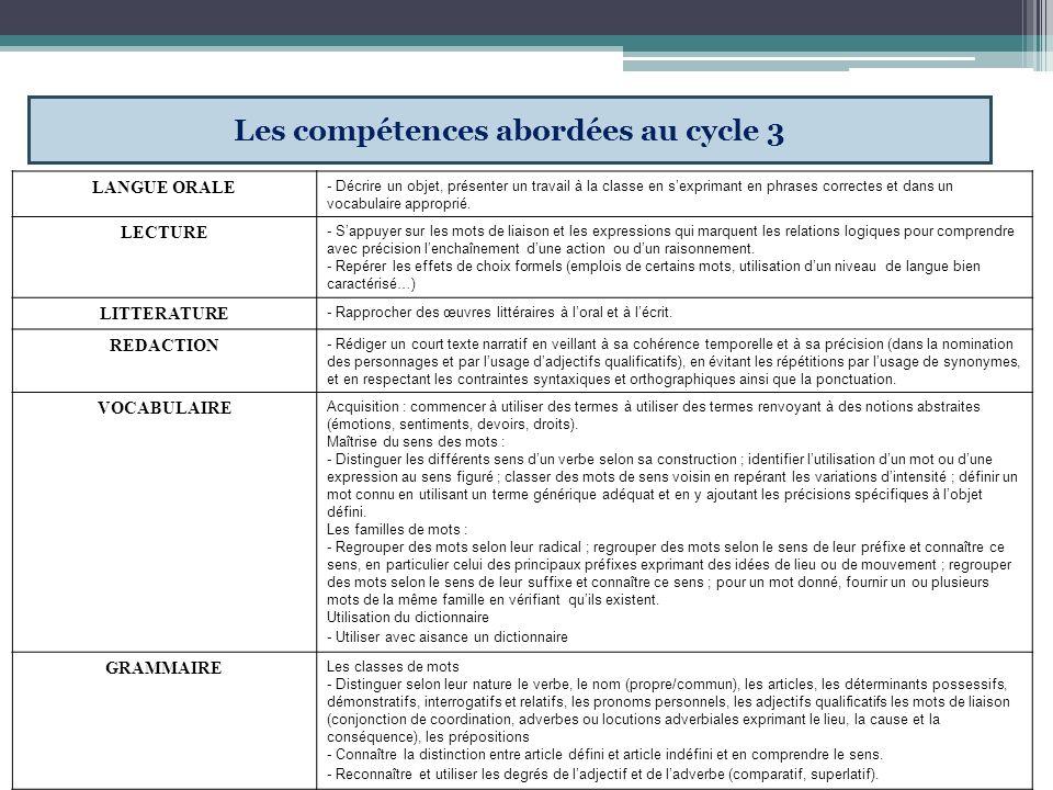 Les compétences abordées au cycle 3