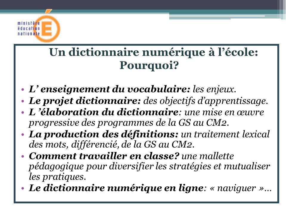 Un dictionnaire numérique à l'école:
