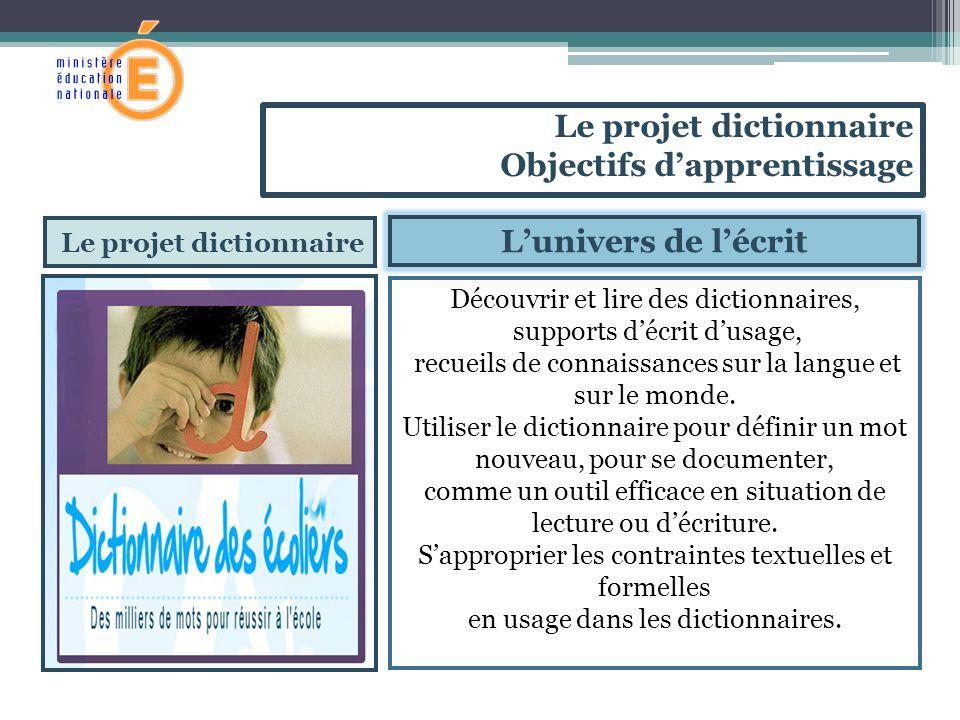 Le projet dictionnaire