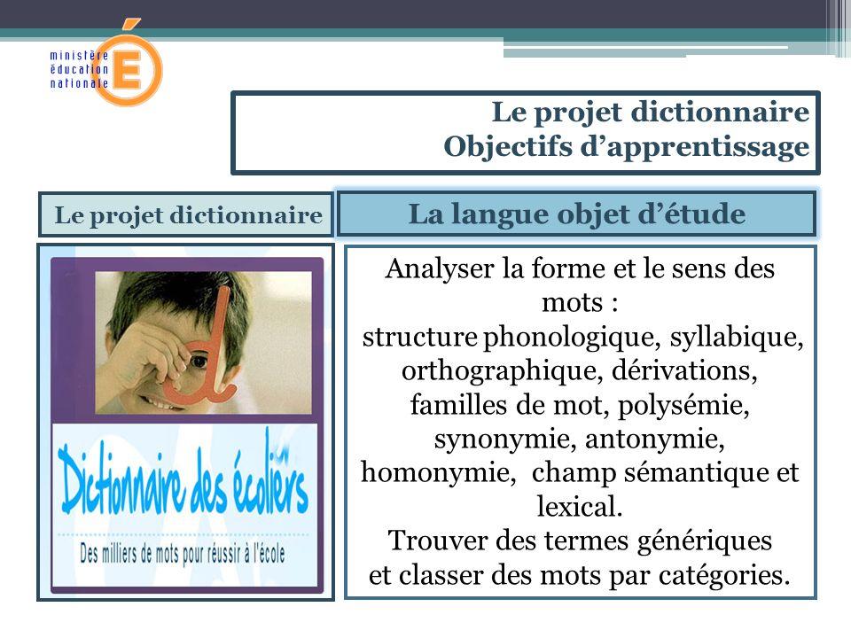 Le projet dictionnaire La langue objet d'étude