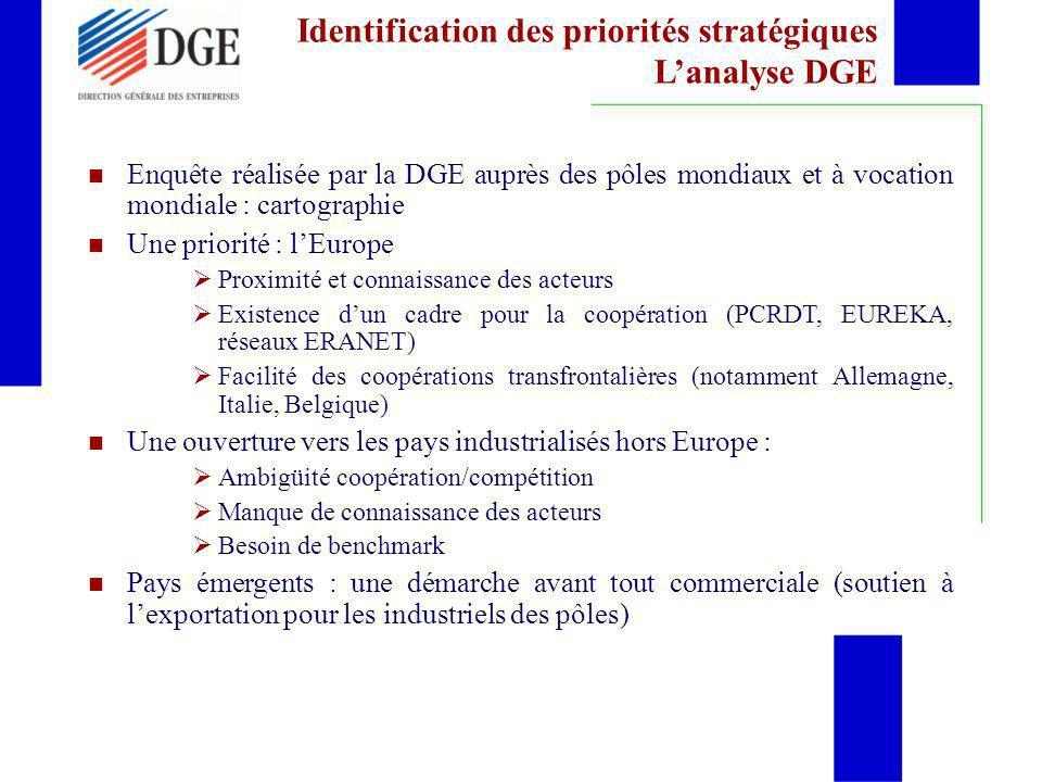 Identification des priorités stratégiques L'analyse DGE