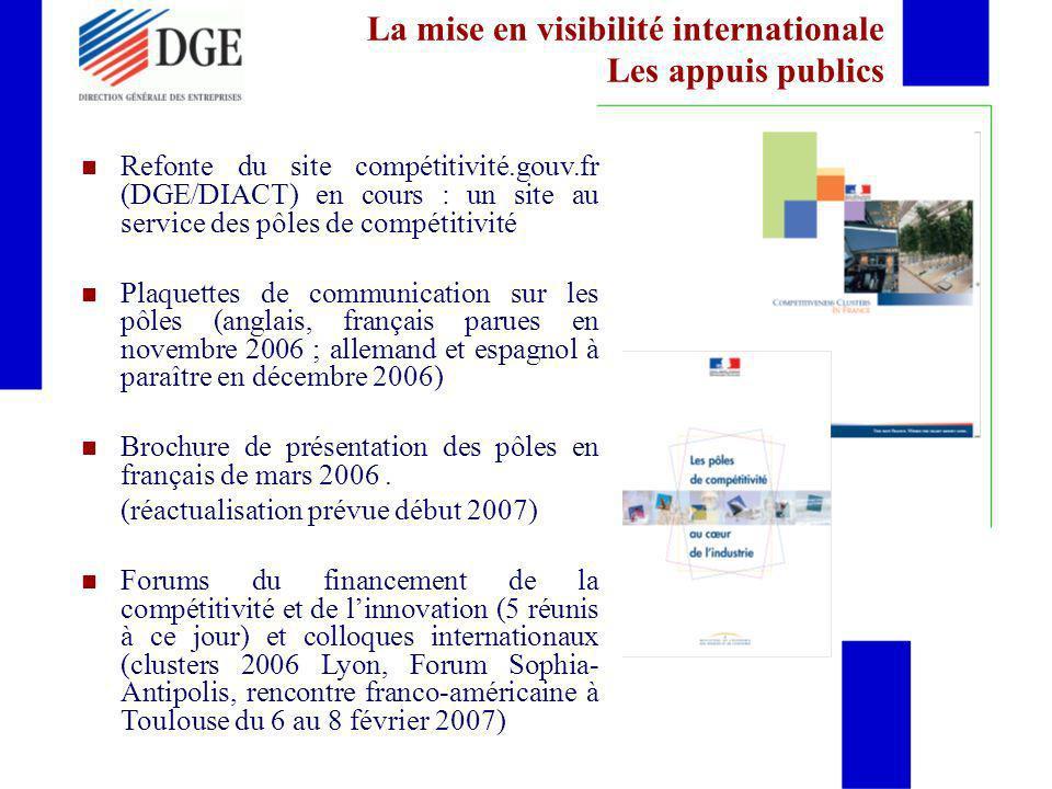 La mise en visibilité internationale Les appuis publics