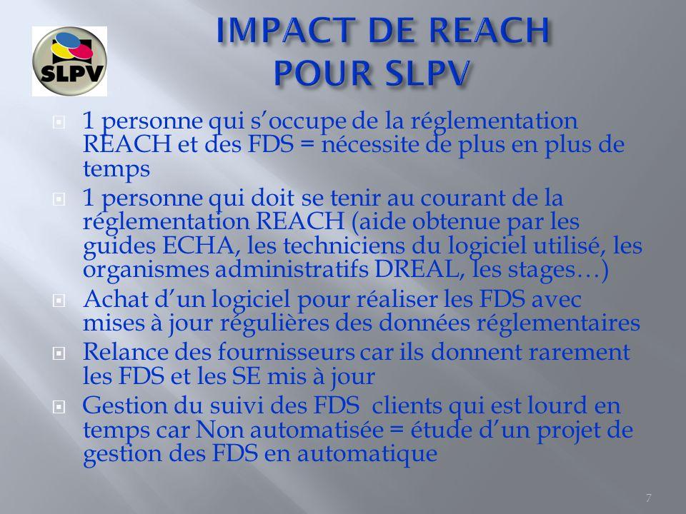 IMPACT DE REACH POUR SLPV