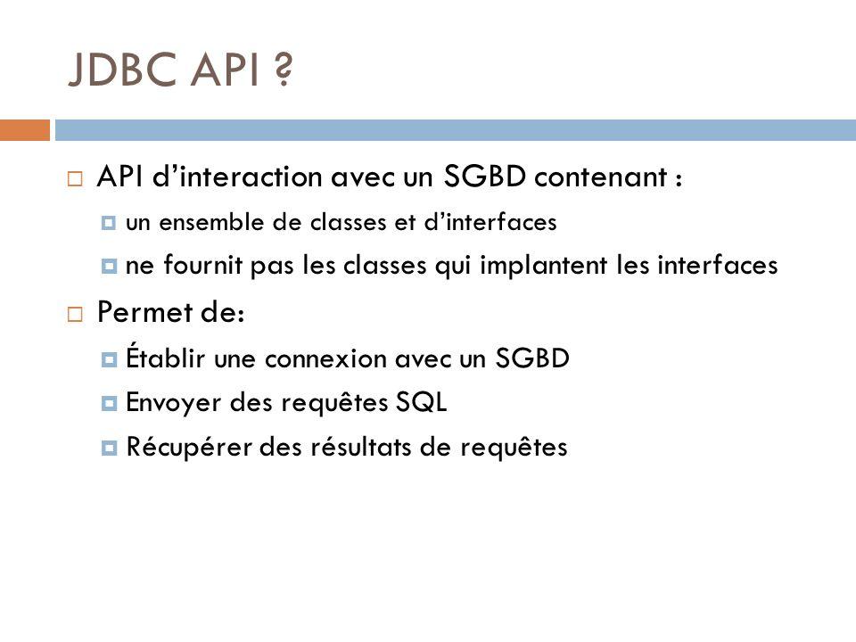JDBC API API d'interaction avec un SGBD contenant : Permet de: