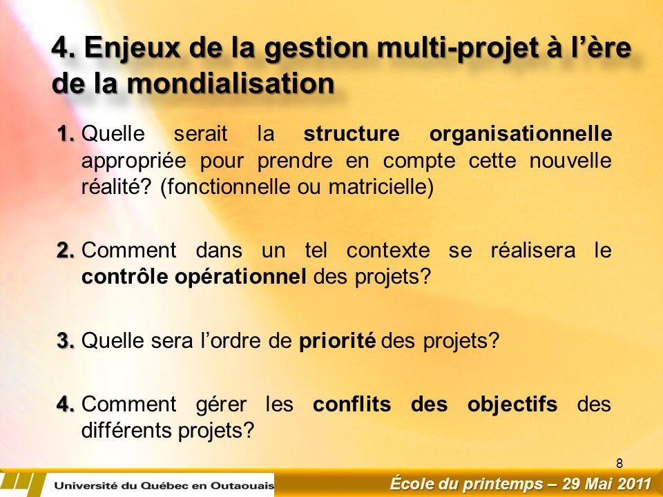 4. Enjeux de la gestion multi-projet à l'ère de la mondialisation