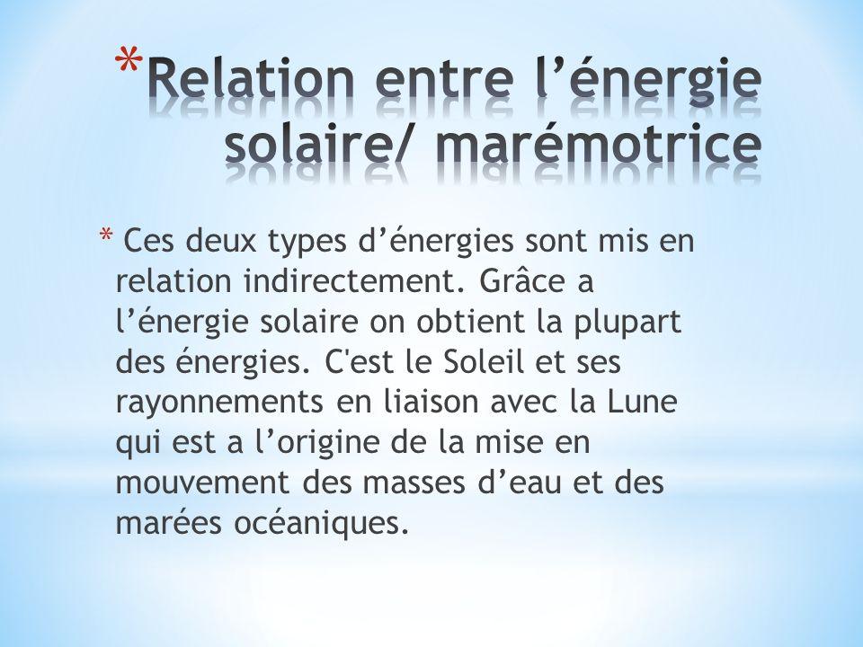 Relation entre l'énergie solaire/ marémotrice