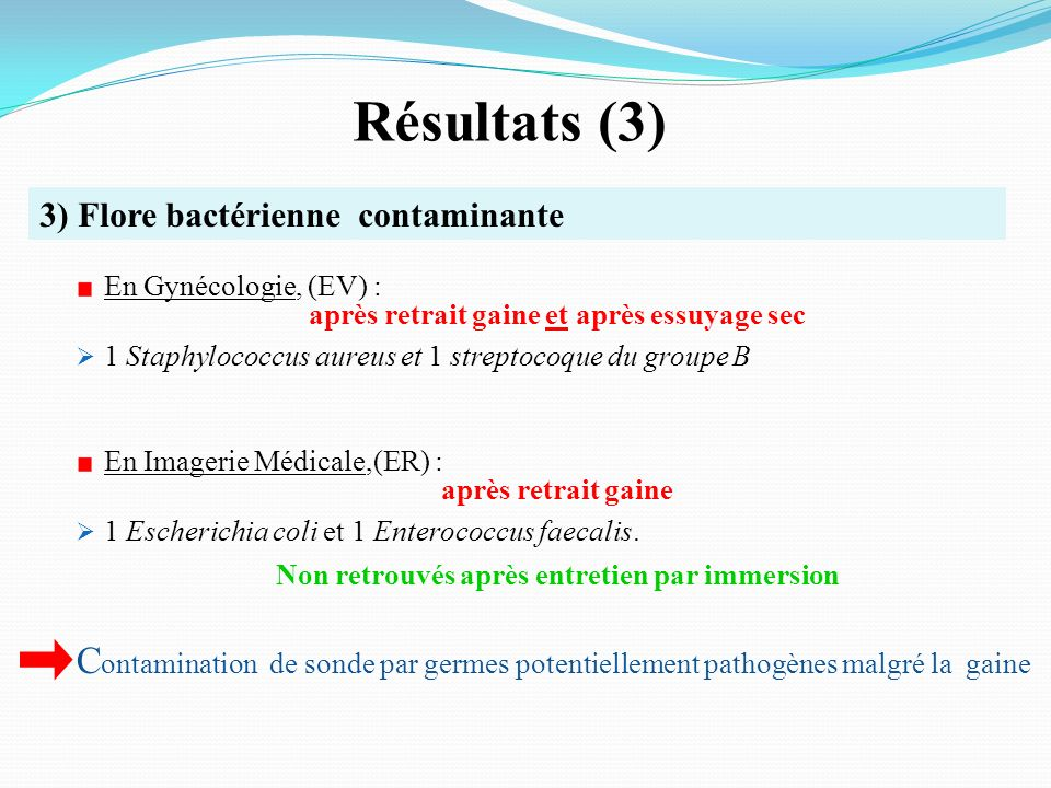 Résultats (3) 3) Flore bactérienne contaminante. En Gynécologie, (EV) : après retrait gaine et après essuyage sec.
