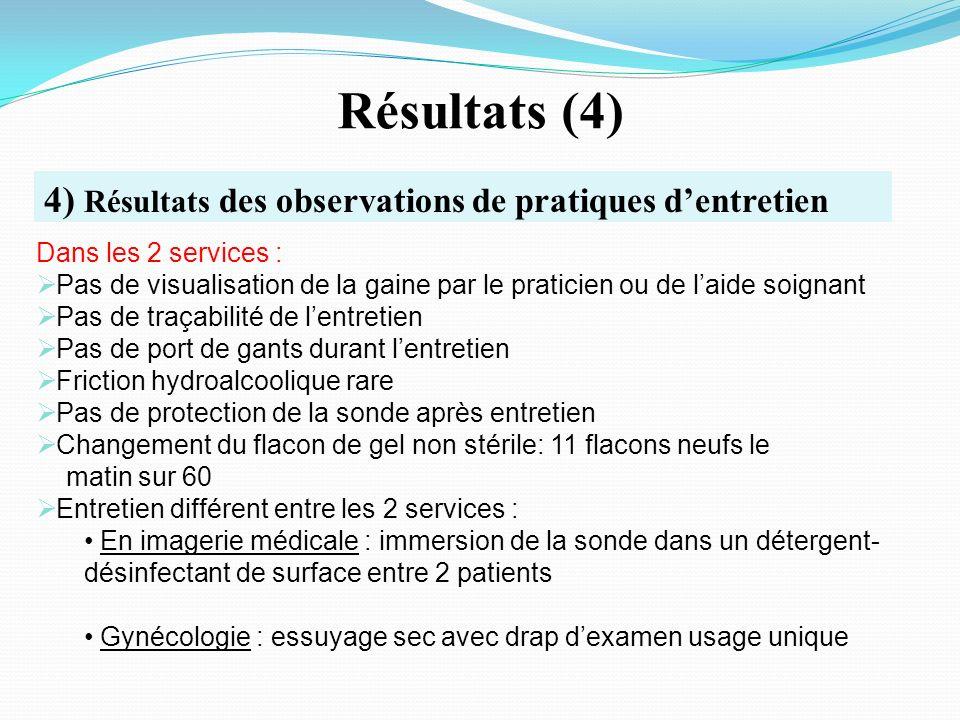 Résultats (4) 4) Résultats des observations de pratiques d'entretien