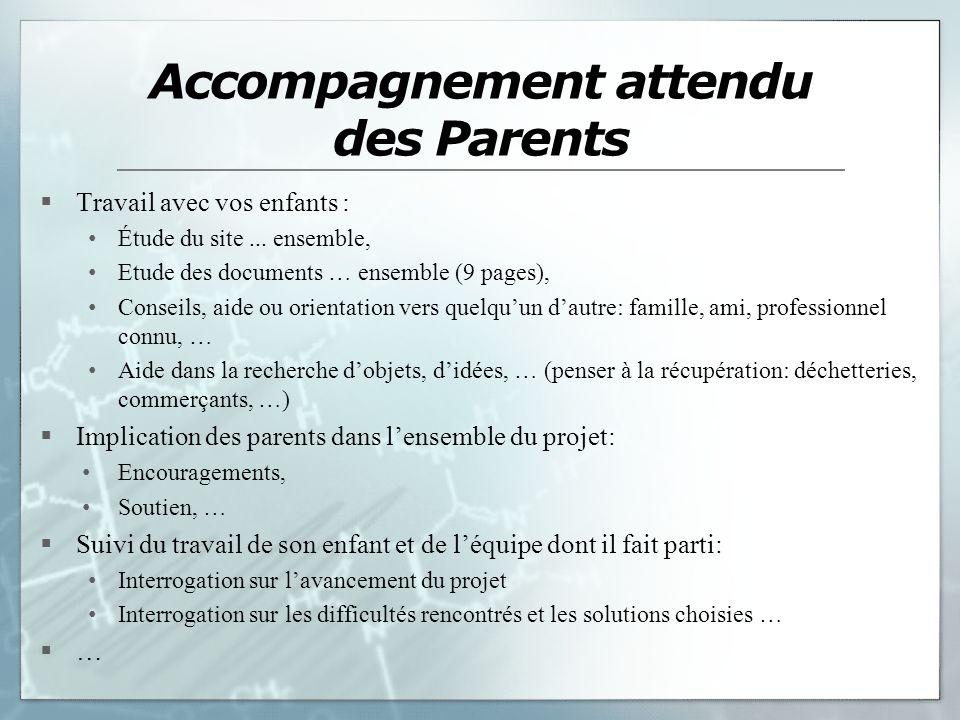Accompagnement attendu des Parents
