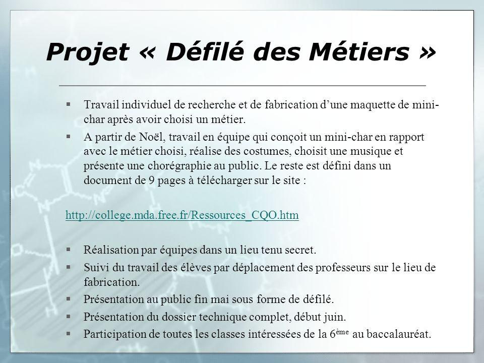 Projet « Défilé des Métiers »