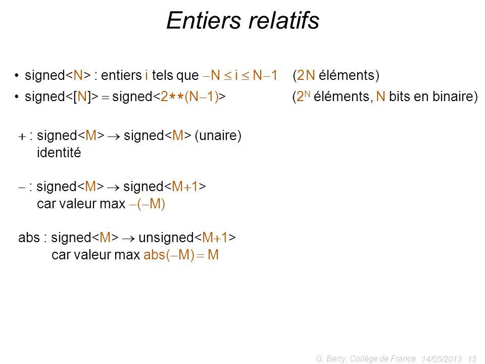 Entiers relatifs signed<N> : entiers i tels que N  i  N1 (2 N éléments)