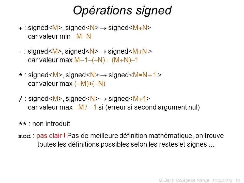 Opérations signed  : signed<M>, signed<N>  signed<MN> car valeur min MN. : signed<M>, signed<N>  signed<MN >