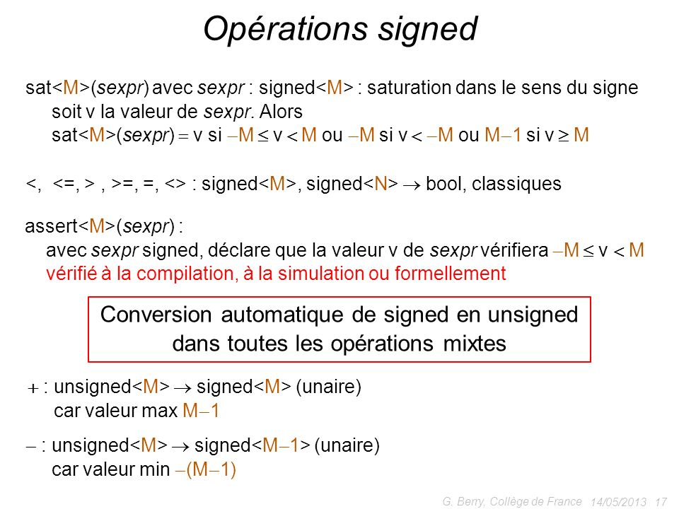 Opérations signed Conversion automatique de signed en unsigned