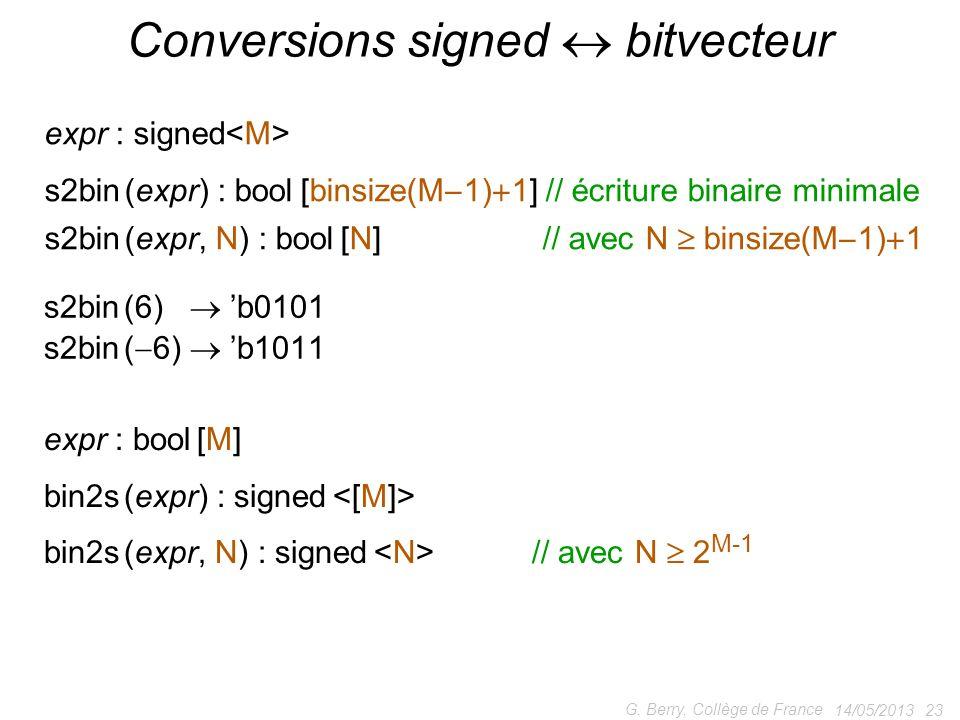 Conversions signed  bitvecteur