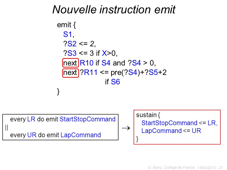 Nouvelle instruction emit