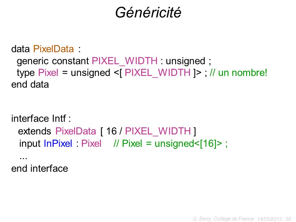 Généricité data PixelData : generic constant PIXEL_WIDTH : unsigned ;