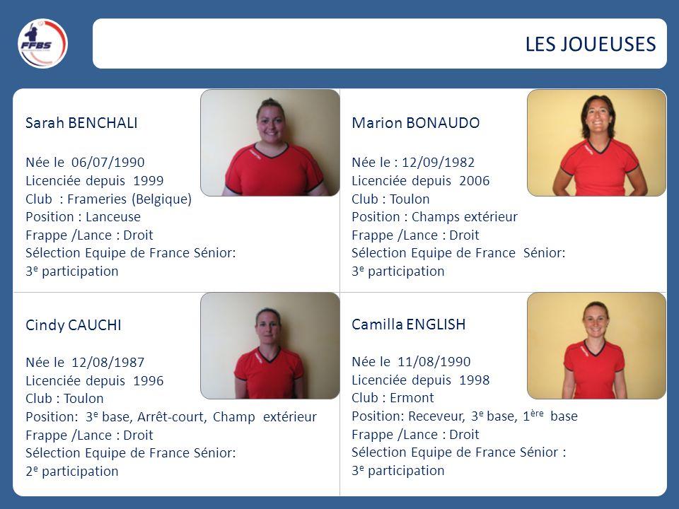 LES JOUEUSES Sarah BENCHALI Marion BONAUDO Cindy CAUCHI