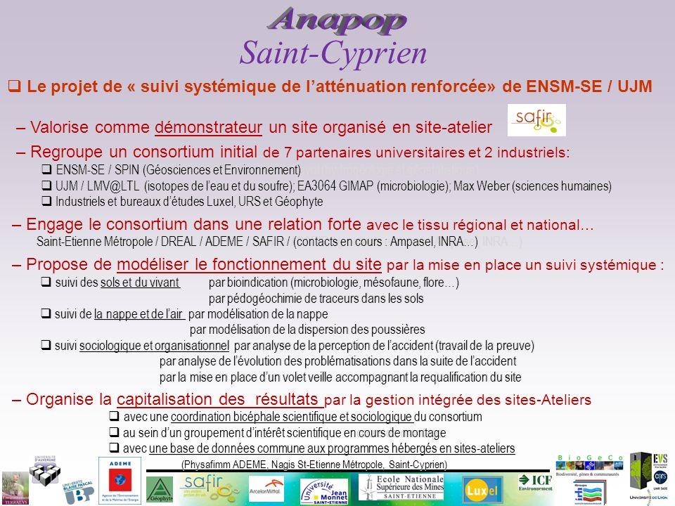 Saint-Cyprien Anapop. Le projet de « suivi systémique de l'atténuation renforcée» de ENSM-SE / UJM.