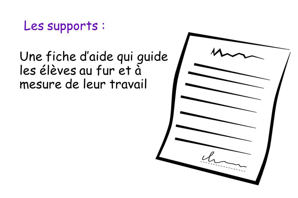 Les supports : Une fiche d'aide qui guide les élèves au fur et à mesure de leur travail