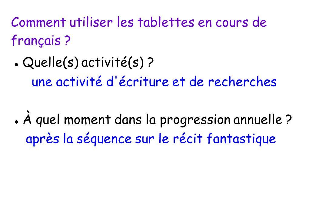 Comment utiliser les tablettes en cours de français