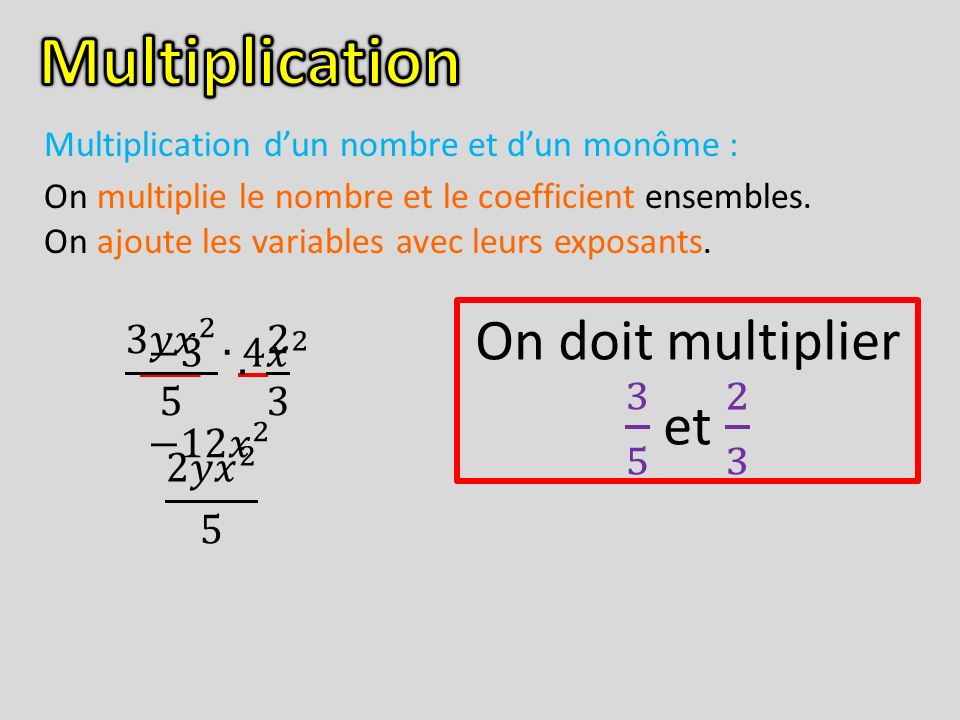 Multiplication On doit multiplier 3 5 et 2 3 3𝑦 𝑥 2 5 ∙ 2 3 −3 ∙4 𝑥 2