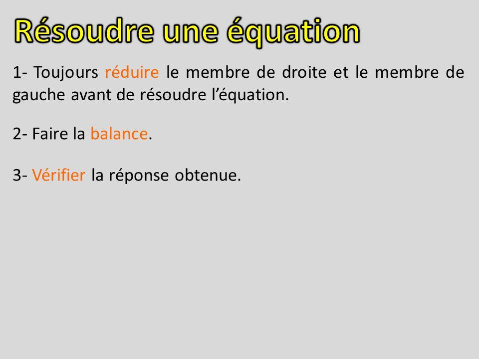 Résoudre une équation 1- Toujours réduire le membre de droite et le membre de gauche avant de résoudre l'équation.