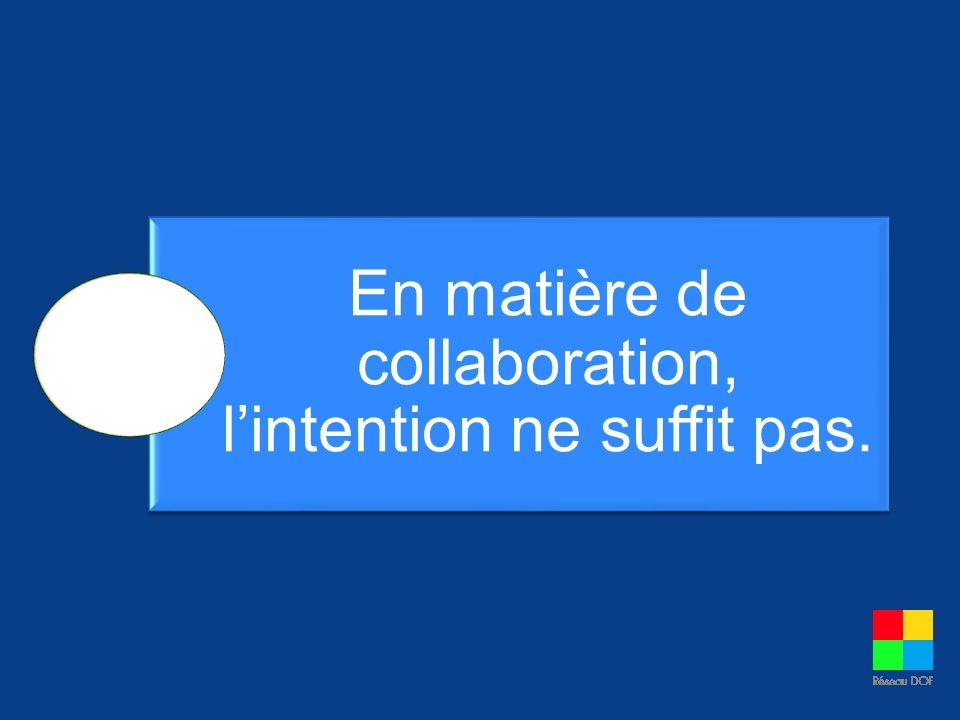 En matière de collaboration, l'intention ne suffit pas.