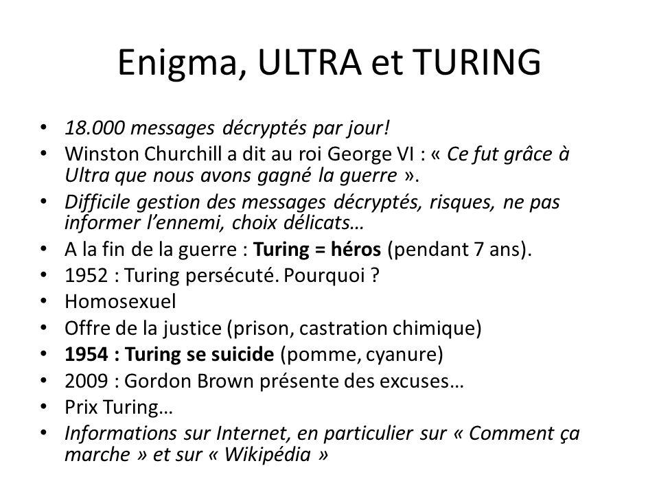 Enigma, ULTRA et TURING 18.000 messages décryptés par jour!