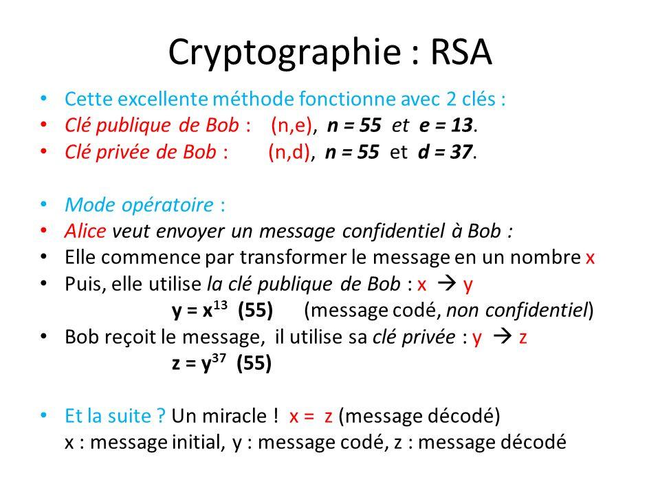 Cryptographie : RSA Cette excellente méthode fonctionne avec 2 clés :