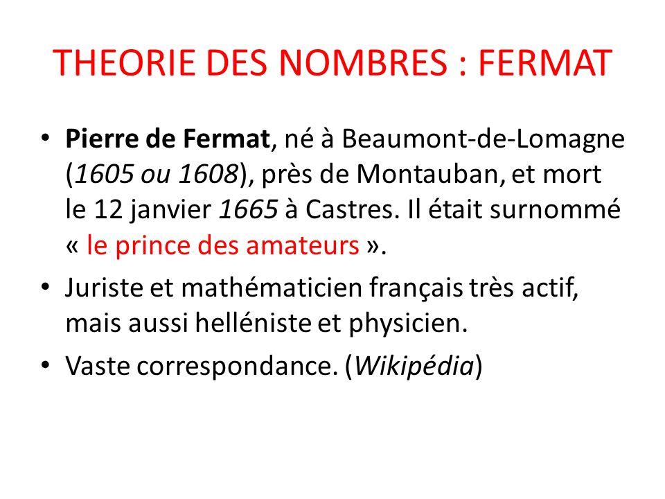THEORIE DES NOMBRES : FERMAT